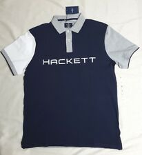HACKETT LONDON DESIGNER MEN'S POLO SHIRT CLASSIC FIT NAVY GREY - M or L  RRP £90