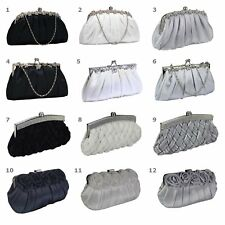 Navy Ivory Silver Satin Crystal Clutch Bags Wedding Prom Party Evening New