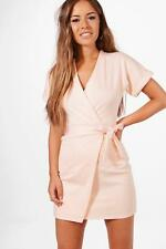 Boohoo Petite Laura Obie Tie Wrap Dress per Donna