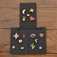 Tiny Enamel Star Heart Cactus Brooch Cartoon Cute Pins Women Gifts 5 Pcs/1 Set