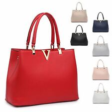 Ladies Faux Leather Handbag Designer V Shoulder Bucket Bag MA36096