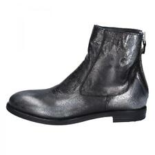 BY614 MOMA  chaussures noir argent cuir femme bottines EU 38