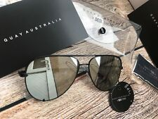 QUAY AUSTRALIA HIGH KEY MIRRORED SUNGLASSES BLACK / SILVER BRAND NEW WITH TAGS