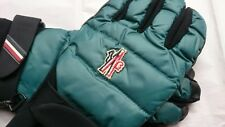 New Moncler Grenoble Leather + Quilted-Shell Down Padded Gloves - Green/Black