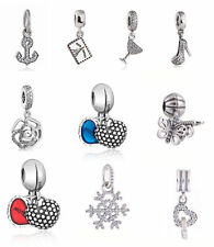 Solid 925 sterling silver Dangle Charms Clear CZ Pendant Charm European Beads