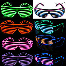 Flashing LED Light Up Slotted Shutter Shades Sunglasses Glow Party Glasskb