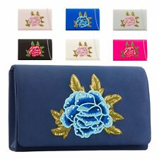 Ladies Floral Satin Clutch Bag Flower Evening Party Purse Handbag KH2213