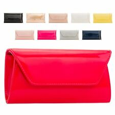 Ladies Designer Patent Clutch Bag Envelope Evening Bag Handbag Purse KL2250