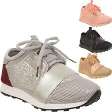 New Childrens Kids Lace Up Glittery Girls Trainers Sports Flat Running Shoes UK