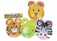 CHILDRENS BIRTHDAY PARTY SET OF 6 ANIMAL FACE PARTY PLATES FUN FROG TIGER ZEBRA