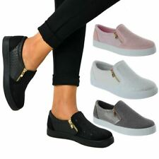 Ladies Womens Diamante Slip On Zip Flat Trainers Plimsolls Zip Up Pumps Size