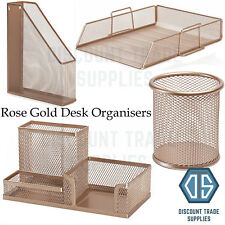 Rose Gold Copper Metal Wire Desk Organiser Office Pen Pot Paper Tray Stationery