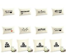 NEW COUPLES KING QUEEN LORDSHIP HIGHNESS HIS HERS BED MATCHING CUSHION COVERS