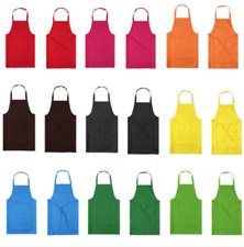 Chefs Butchers Kitchen Apron Cooking Craft Baking Plain Apron With Front Pocket