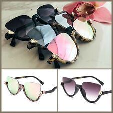 Pink, Silver, Grey Mirrored Rimless Black Tortoise Leopard Cat Eye Sunglasses-UK