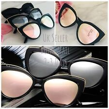 Polarized HD Cat Eye Pink, Silver, Grey, Mirrored Lens Black Frame Sunglasses