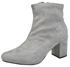Womens Chunky Block Heel Ankle Boots Faux Suede Velvet Sock Top Boots Shoes Size
