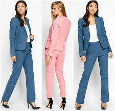 Women's Formal Blazer Blue Pink Linen One Button Tailored Trousers Suits Jacket