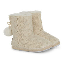 Aran Traditions Cable Knit Pom Pom Bootee Soft Feel Slippers