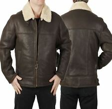 USAF B3 Mens Bomber WWII Cream Shearling Real Fur Leather Brown Aviator Jacket