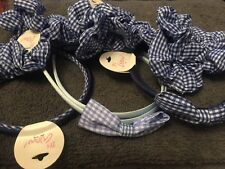 Gingham hair alice band bow headband pack 3 scrunchies fabric navy blue bobbles