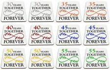 Pair of Mr & Mrs Together Forever Anniversary (1st - 70th) Glossy Mug Coasters