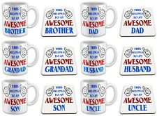 This Belongs To An Awesome... Novelty Gift Mug with Coaster - Blue/Red