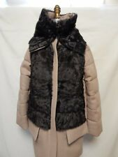 Moncler Robinier Wool Coat Front Fur Vest Size 2 -Med Beige  NWT 100% Authentic