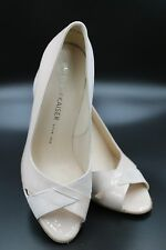 Peter Kaiser Powder Suede / Patent Leather Cross Over Peep Toe Court Shoes- New