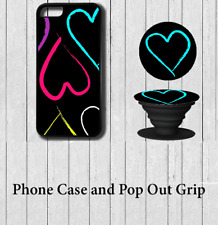 Love heart Art iPhone Case Cover with Pop out Grip 5 5s se 6 6s 7 8 X Plus