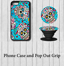Candy Skull Art iPhone Case Cover with Pop out Grip 5 5s se 6 6s 7 8 X Plus