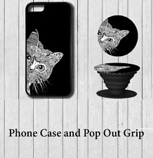 cat Art iPhone Case Cover with Pop out Grip 5 5s se 6 6s 7 8 X Plus