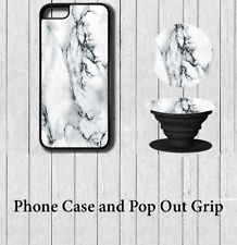 Marble effect iPhone Case Cover with Pop out Grip 5 5s se 6 6s 7 8 X Plus