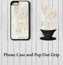 Marble effect iPhone Case Cover with Pop out Grip 5 5s se 6 6s 7 8 X Plus d02