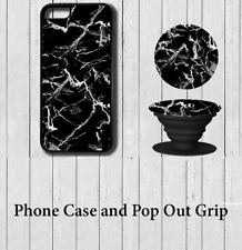 Marble effect iPhone Case Cover with Pop out Grip 5 5s se 6 6s 7 8 X Plus d04