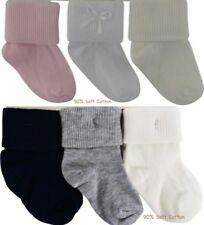 Baby Boys Girls Socks 90% soft rich cotton 3 pairs turn over top 0 to 18 Months