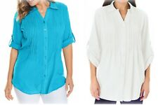 New Ladies Woman Within Cotton  Blouse Shirt  Roll Sleeve Top Plus Size 18-36