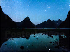 Cuadro de madera Starry night over Milford Sound, New Zealand - Matteo Colombo