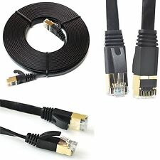 Flat RJ45 CAT7 Ethernet Network LAN Patch SSTP Gigabit Modem Router Cable Lot UK