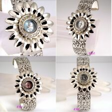 Deco Vintage Shabby Chic Sunflower Daisy Floral Bud Ladies MOP Bangle Cuff Watch