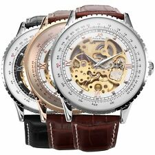 KS Luxury Men's Leather Royal Carving Automatic Mechanical Skeleton Wrist Watch