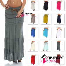 Ladies Lagenlook Cotton Lace Layer Summer Elasticated Maxi Skirt Gypsy Boho Size