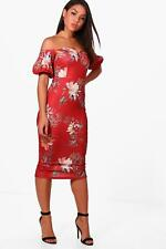 Boohoo Lizzie Floral Print Off the Shoulder Midi Dress para Mujer