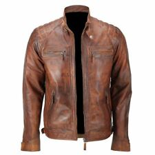 Mens Biker Quilted Vintage Distressed Motorcycle Cafe Racer Real Leather Jacket