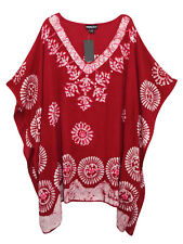 V-Neck Embroidered Batik Print Kaftan Tunic Top
