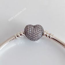 New Genuine Pandora  Moments Pave Heart Bracelet With Box & Bag #590727CZ RRP£75