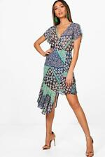 Boohoo Ella Mixed Print Step Ruffle Hem Midi Dress para Mujer