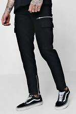 Boohoo Slim Fit Cargo Trousers With Zips per Uomo