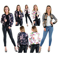 Womens Floral Leopard Print Bomber Jacket Ladies Long Sleeve Zipper Biker Jacket