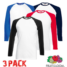 3x Fruit of the Loom Hombre Camiseta De Béisbol Contraste Manga Larga Deporte de